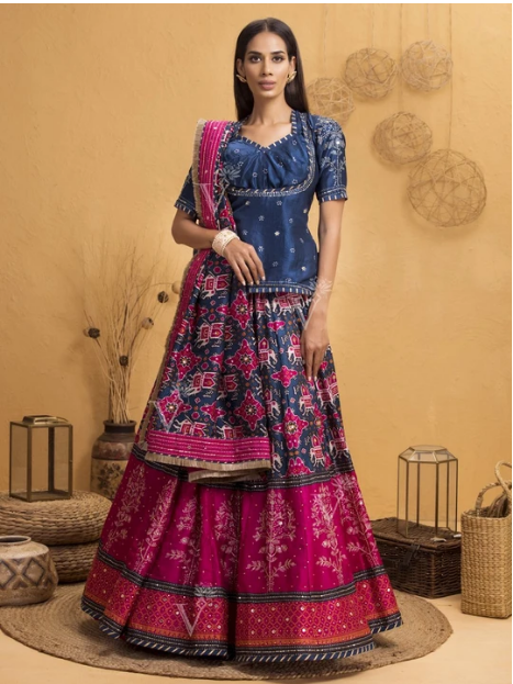 Blue And Pink Patola Lehenga With Rajputi Tunic