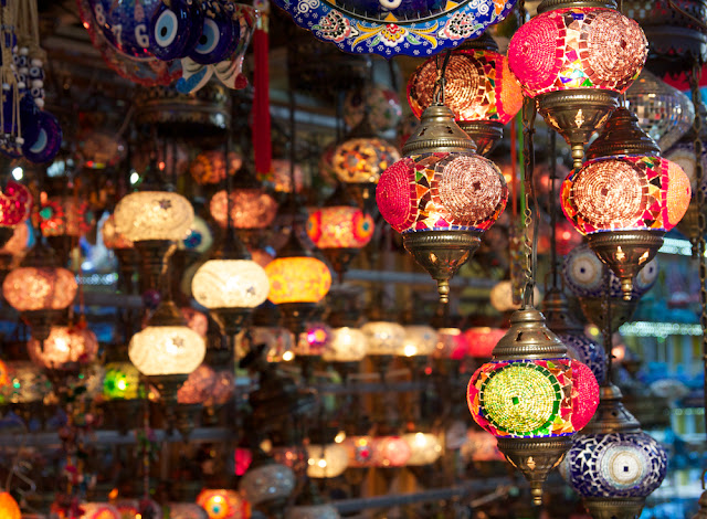 beautiful lamps in bazaars