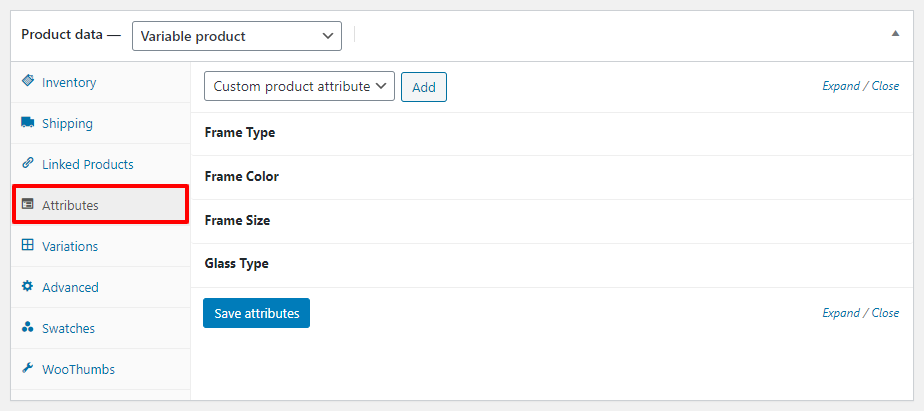 variable product attribute settings