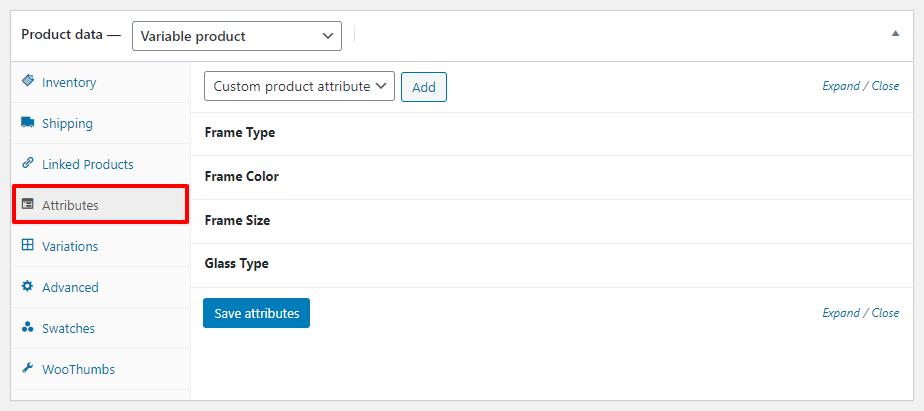 configurações de atributo de produto variável