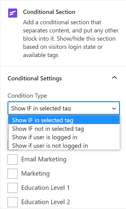conditional section, fluentcrm conditional section, fluentcrm conditiional section tagging