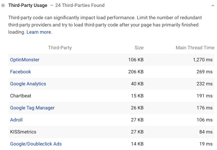 list of third-party tools in pagespeed insights