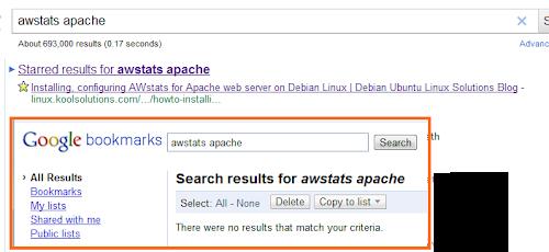 Google Chrome Lesezeichen in Suchergebnissen