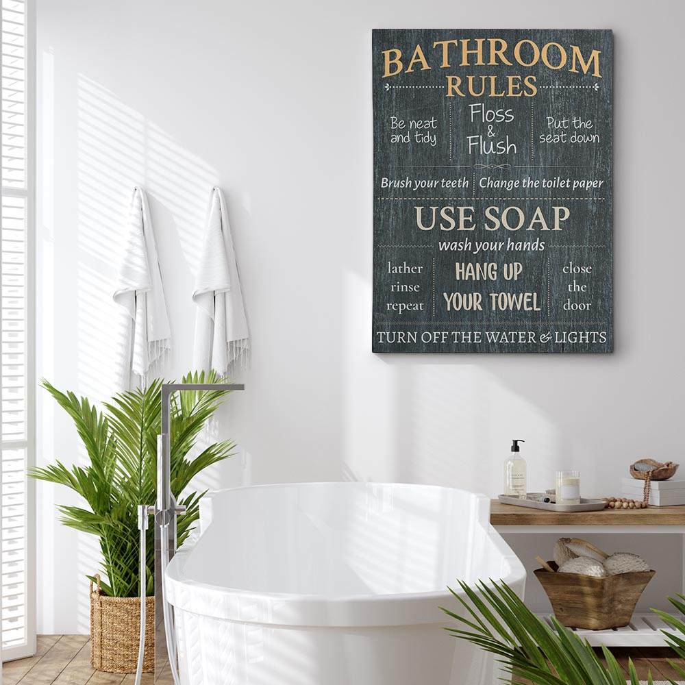 Decorate your bathroom wall with a bathroom rules wall art
