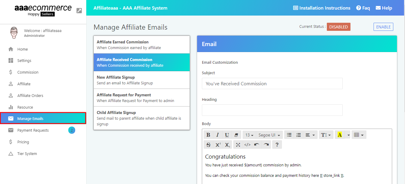 How To Setup Email Template On Affiliate Shopify App Aaaecommerce