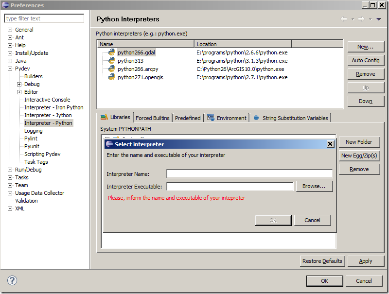 August Town: Configure GDAL/OGR Python debug environment in Pydev on