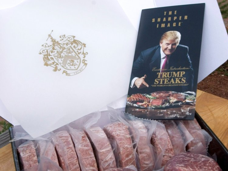 Trump Steaks, launched for Sharper Image in 2007, ranged from $199 for a pack of 12 steak burgers and four steaks to $999 for a selection of 16 top cuts. The steaks only lasted about two months at Sharper Image but are still served at Trump hotels.