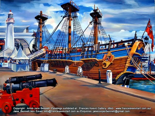 Marine art Cannons of  'HMB Endeavour' at Darling Harbour oil painting by artist Jane Bennett