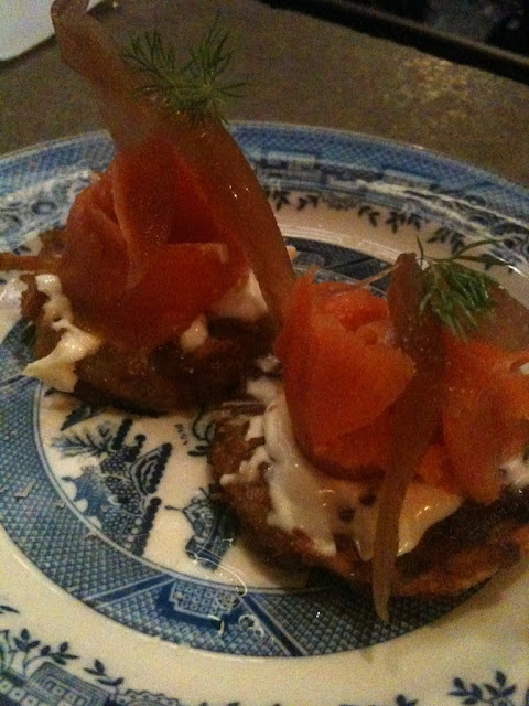Gravlax on latkes at 416 Snack Bar