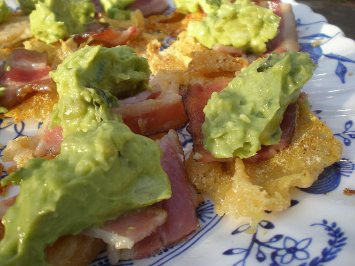 Cheese crisps with bacon and guacamole.