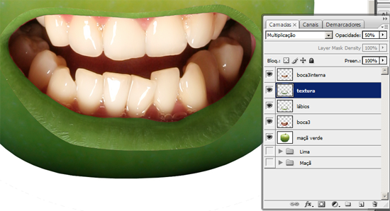 Aplicando textura na boca da maçã