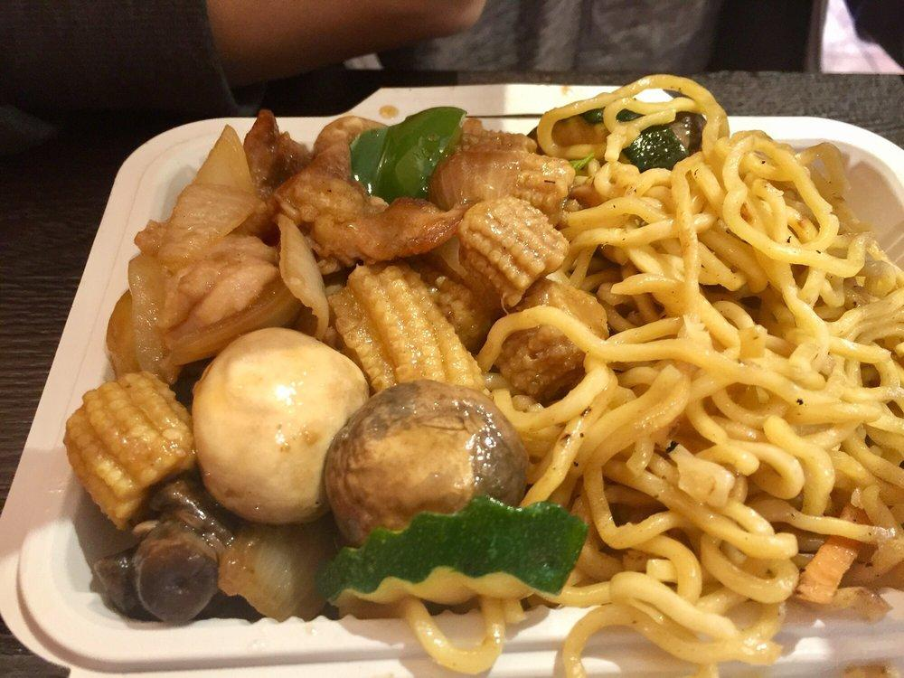 Photo of Asia Express - Union City, CA, United States. 2 item plate with chicken chow mein & mushroom chicken