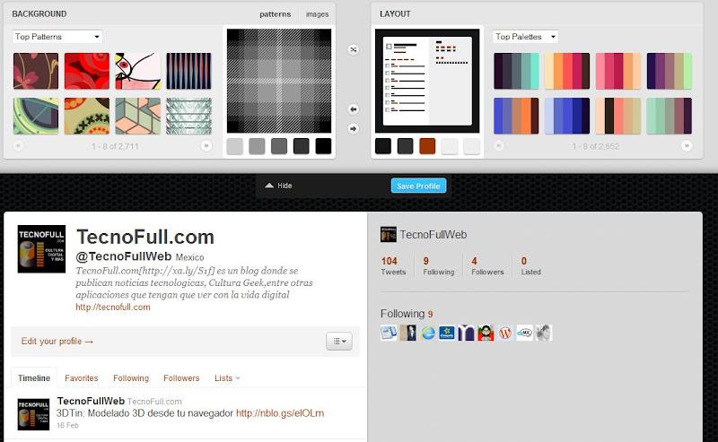 ColourLover personalizando twitter