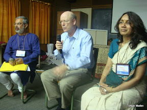 Kartikeya Sarabhai, Steven Rockefeller and Madhavi Joshi at the preconference Youth workshop
