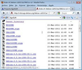 Descarga del fichero ISO, preparar CD con la instalación de Debian 6.0.1a Squeeze
