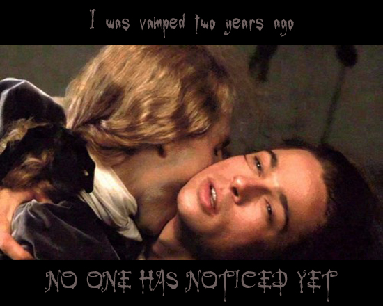 Secret 31 - Image: a still from Interview With a Vampire in which some dude is sucking Brad Pitt's blood. Text: I was vamped two years ago. No one has noticed yet. Font: stylized, pointy and dripping blood.