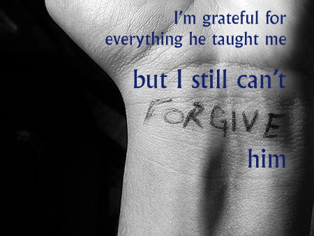 Secret 42 - Image: a black-and-white picture of a person's wrist with 'forgive' written on it. Text: I'm grateful for everything he taught me, but I still can't forgive him. Font: serif.