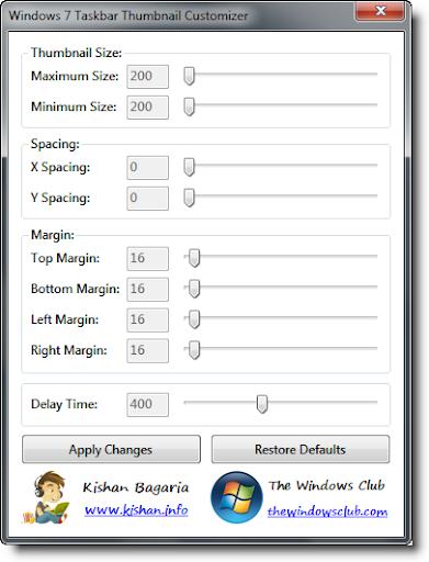 Modificare la dimensione delle anteprime nella taskbar