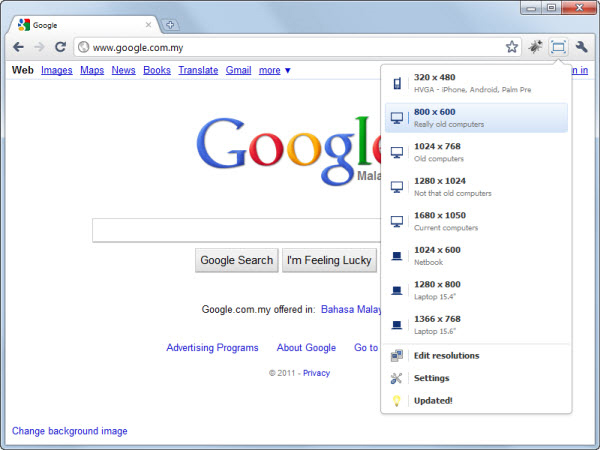 Window Resizer Google Chrome