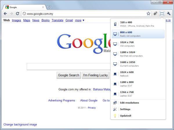 Window Resizer Google Chrome