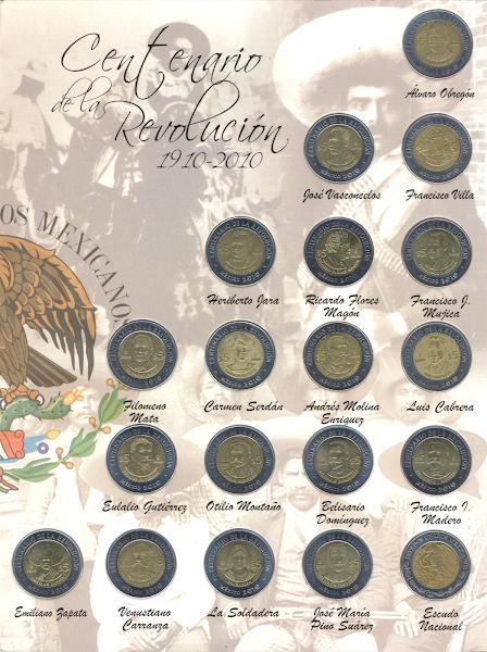 Monedas conmemorativas de cinco pesos de la Revolución