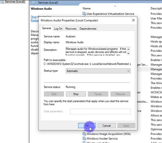 windows audio properties dialog box