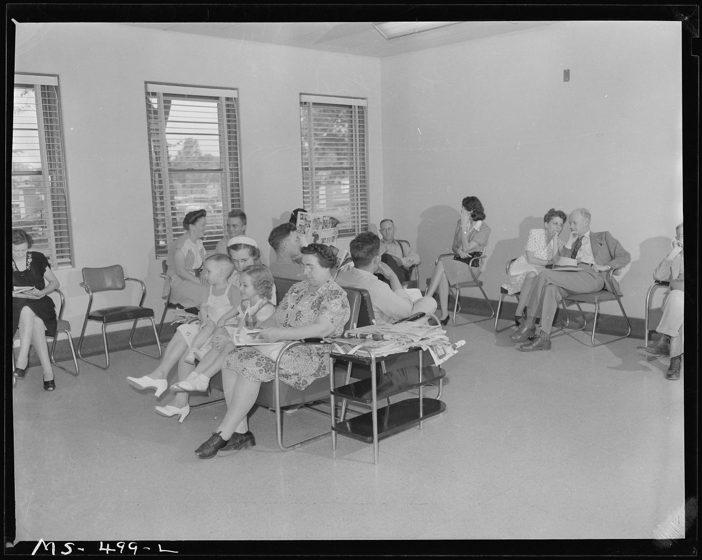 General <strong>waiting room</strong> in company owned hospital. Families of miners as ...