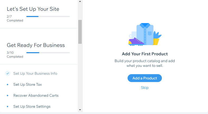 adding products in wix