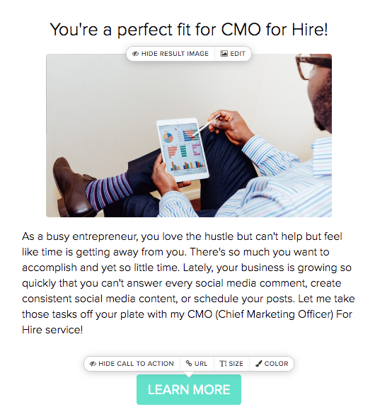 quiz result recommending hiring a CMO