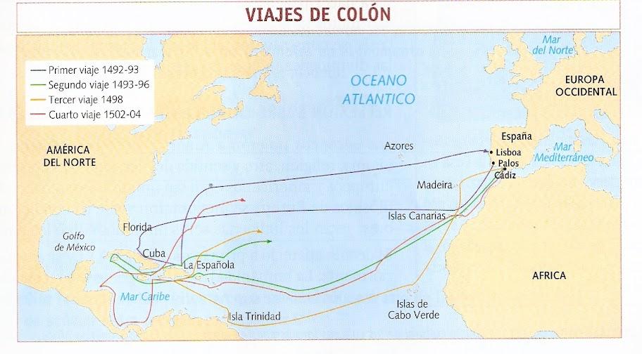 MAPA VIAJES DE COLON