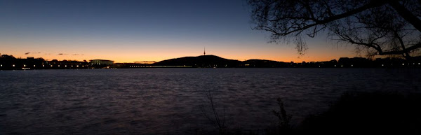 sunset over lake burley griffin