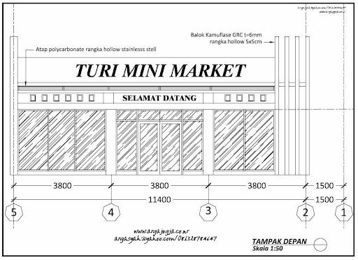 Desain Minimarket Tumbuh Dengan Luas Bangunan 180 m2
