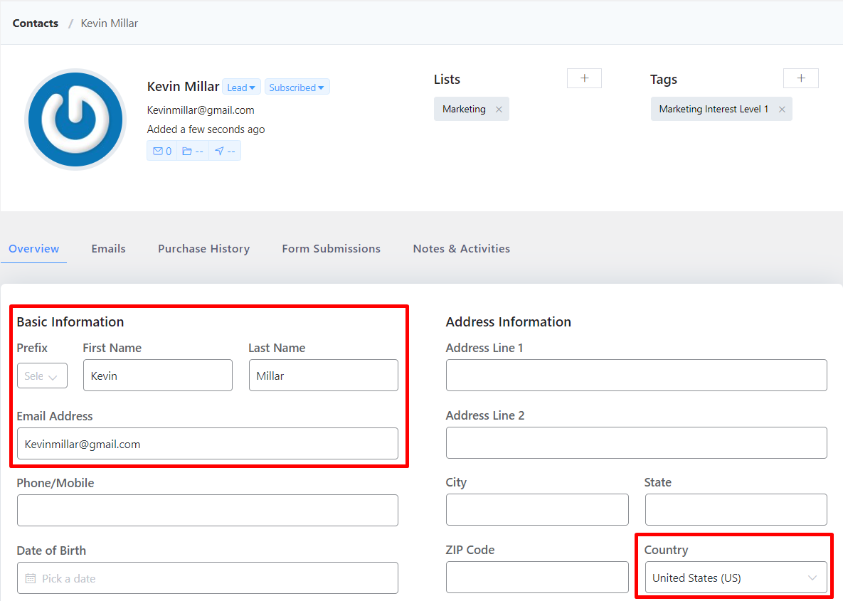 capturing leads in fluentcrm, fluentcrm contact dashboard