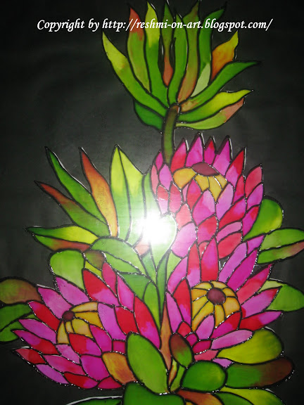 Closer view of glass painitng design
