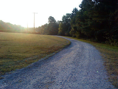 trail head of the Neuse River trail from the parking lot at Anderson Point Park