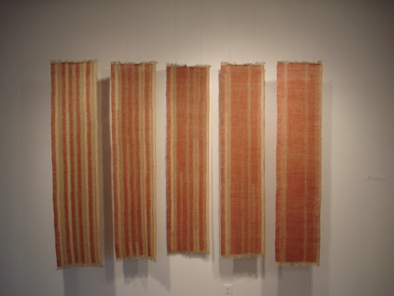 Mackenzie Frere Recollect 1, linen, turkey red, weft kasuri, five panels each 32 x 149 cm, 2008/2009