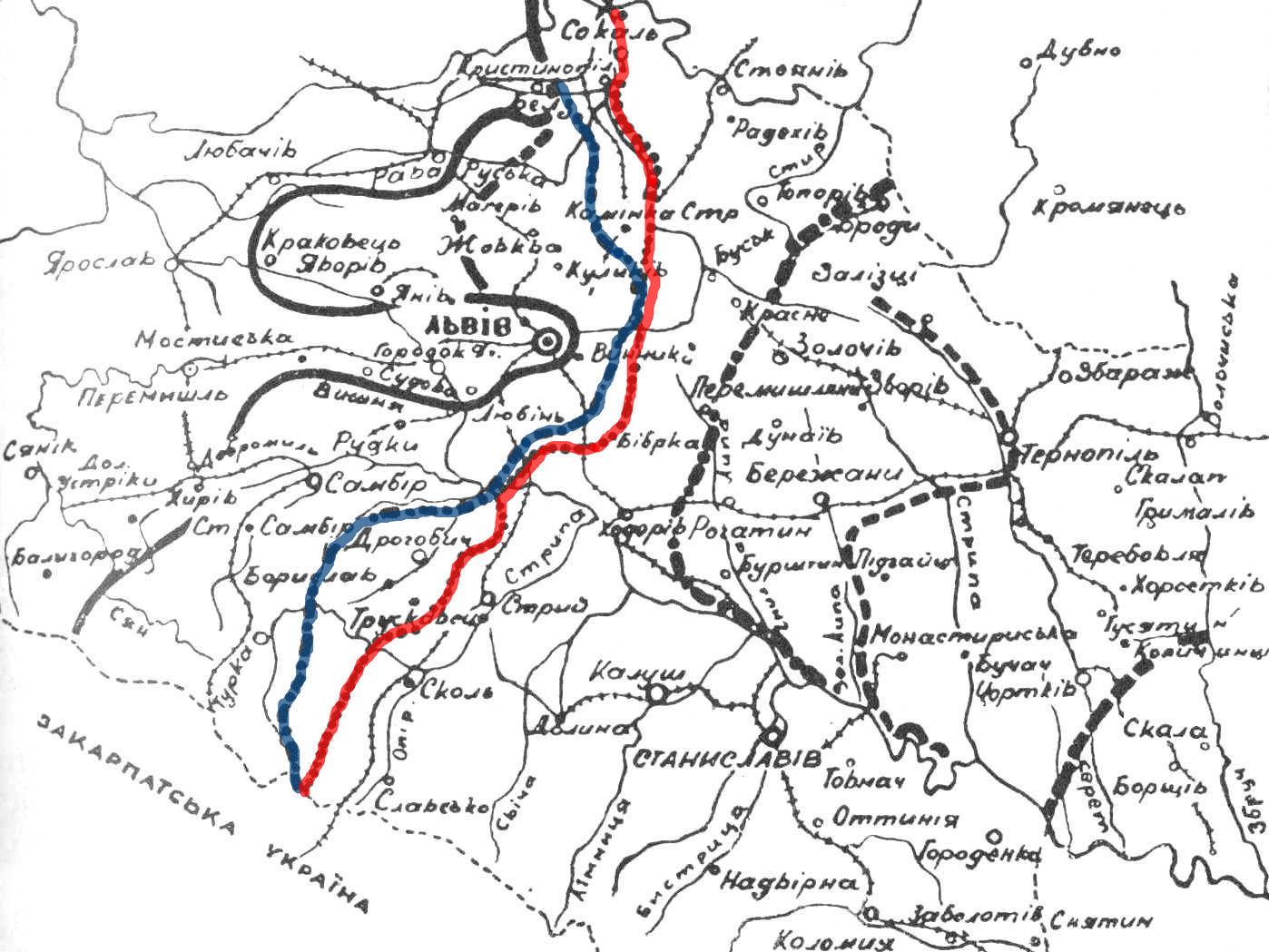 """Карта польсько-української війни в Галичині. Червоним виділена """"Лінія Бартелемі"""", синім - """"Лінія Боти"""""""