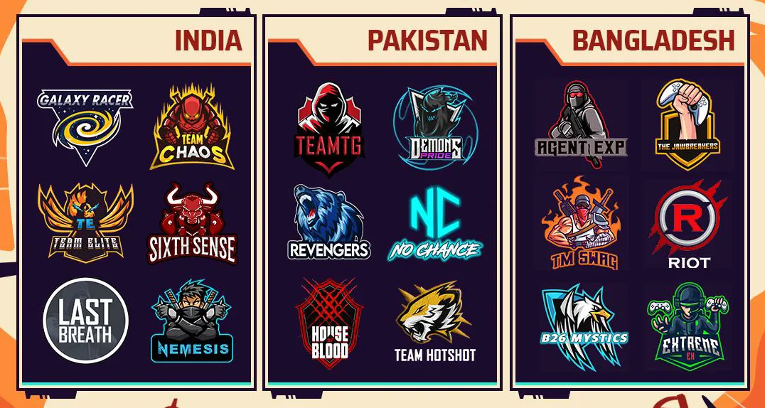 All the participating teams in the Free Fire Tri-Series 2021