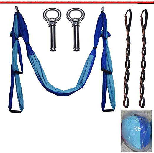 Parachute Cloth Aerial Yoga Swing Set/Yoga Sling Inversion Tool for Professional and Beginners,Handle,Metal Buckle Meter,Telescopic Buckle,Cloth Bag,Extension Belt,Ring