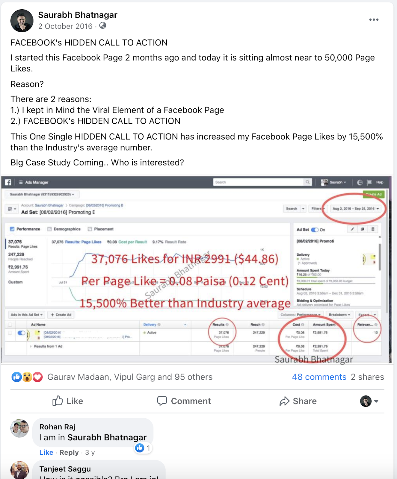 my first $100 earning saurabh bhatnagar facebook post