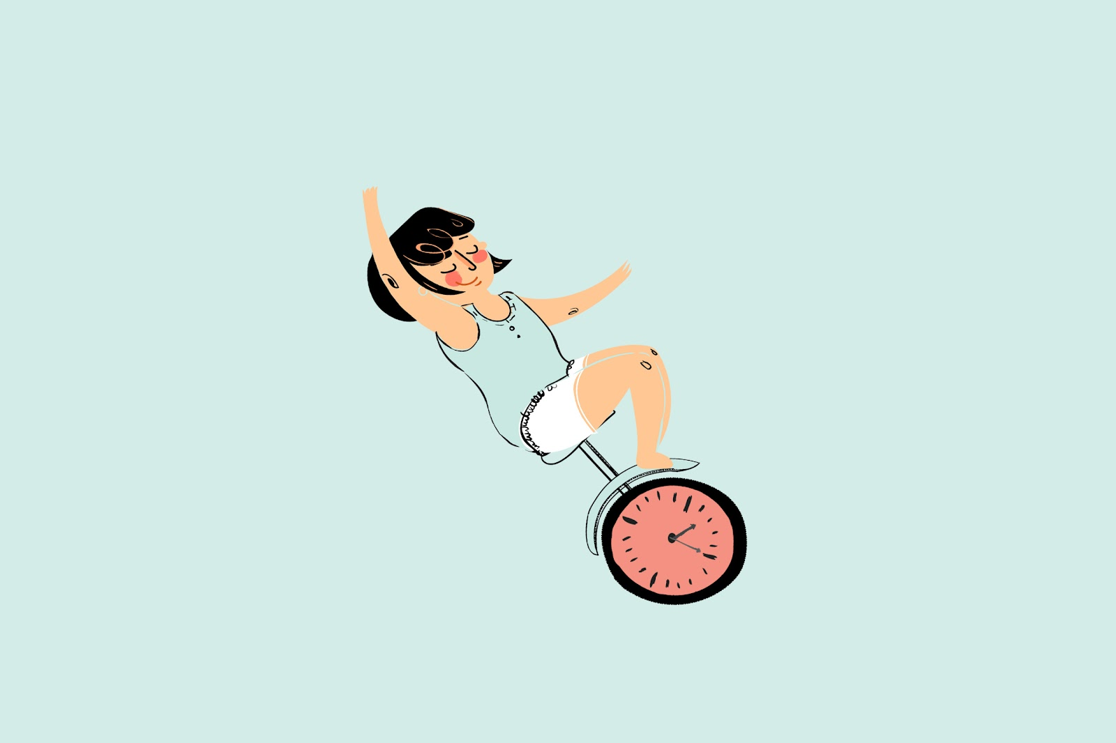 Illustration of woman balancing on a unicycle