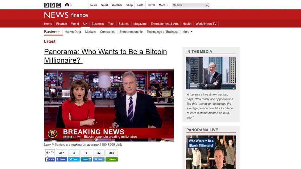 Screenshot of a fake BBC News article.