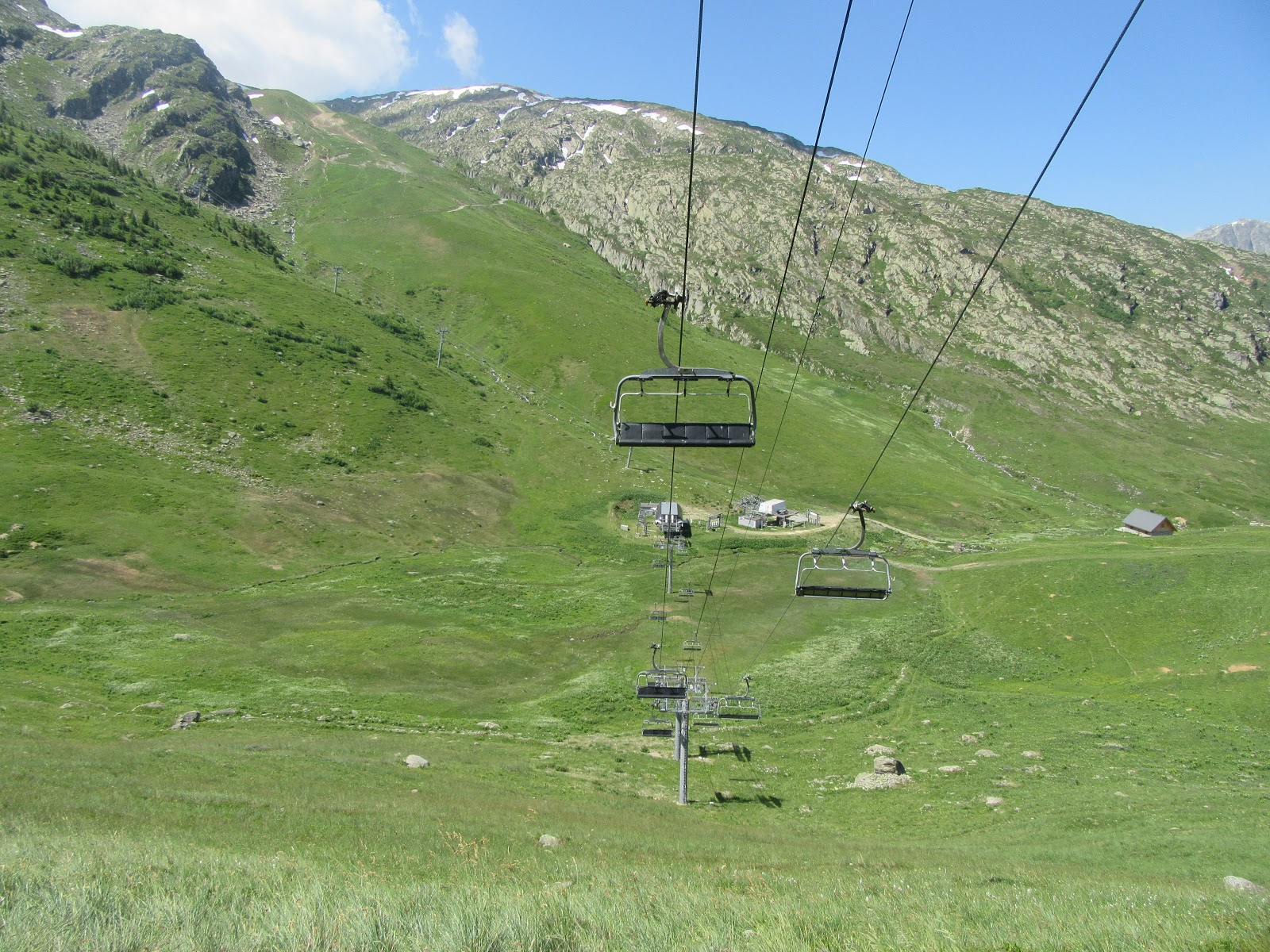 Biking Col de la Croix de Fer, West  - ski lifts, ski chair and cable, mountins