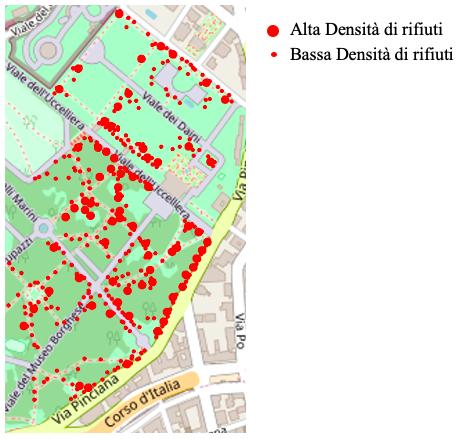 Villa Borghese: mappa della densità dei rifiuti