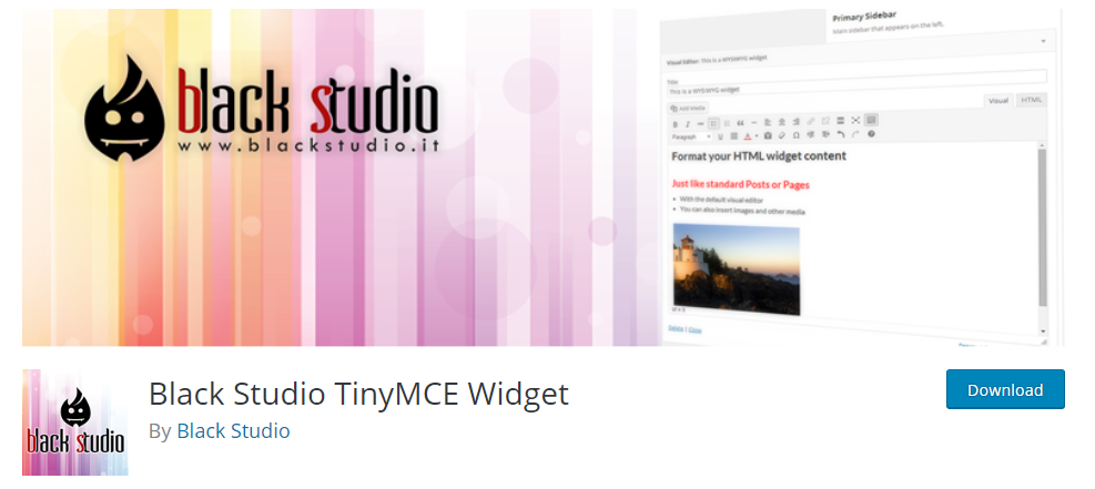 Black Studio TinyMCE Widget WordPress Plugin