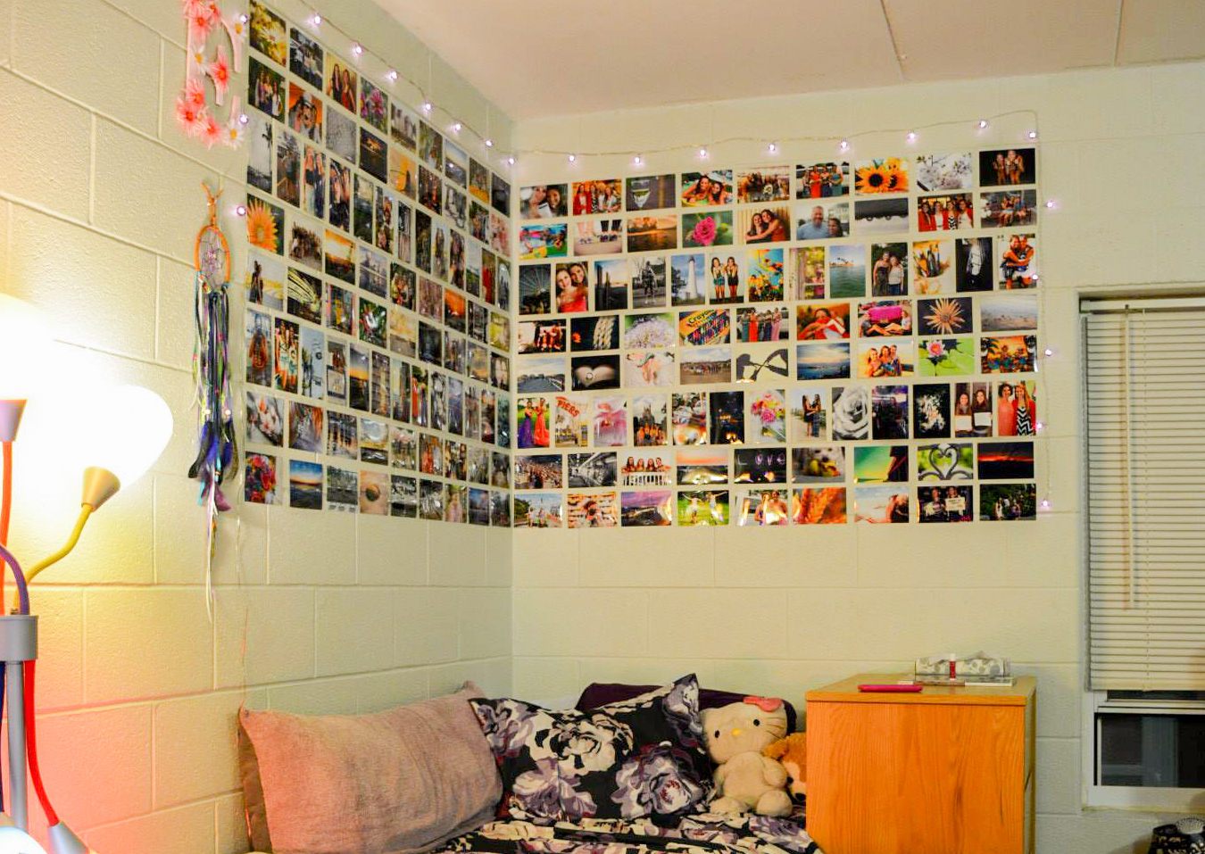 Dorm room with photos on the wall