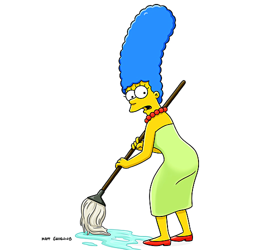 Marge Simpson cleaning the floor with a mop.