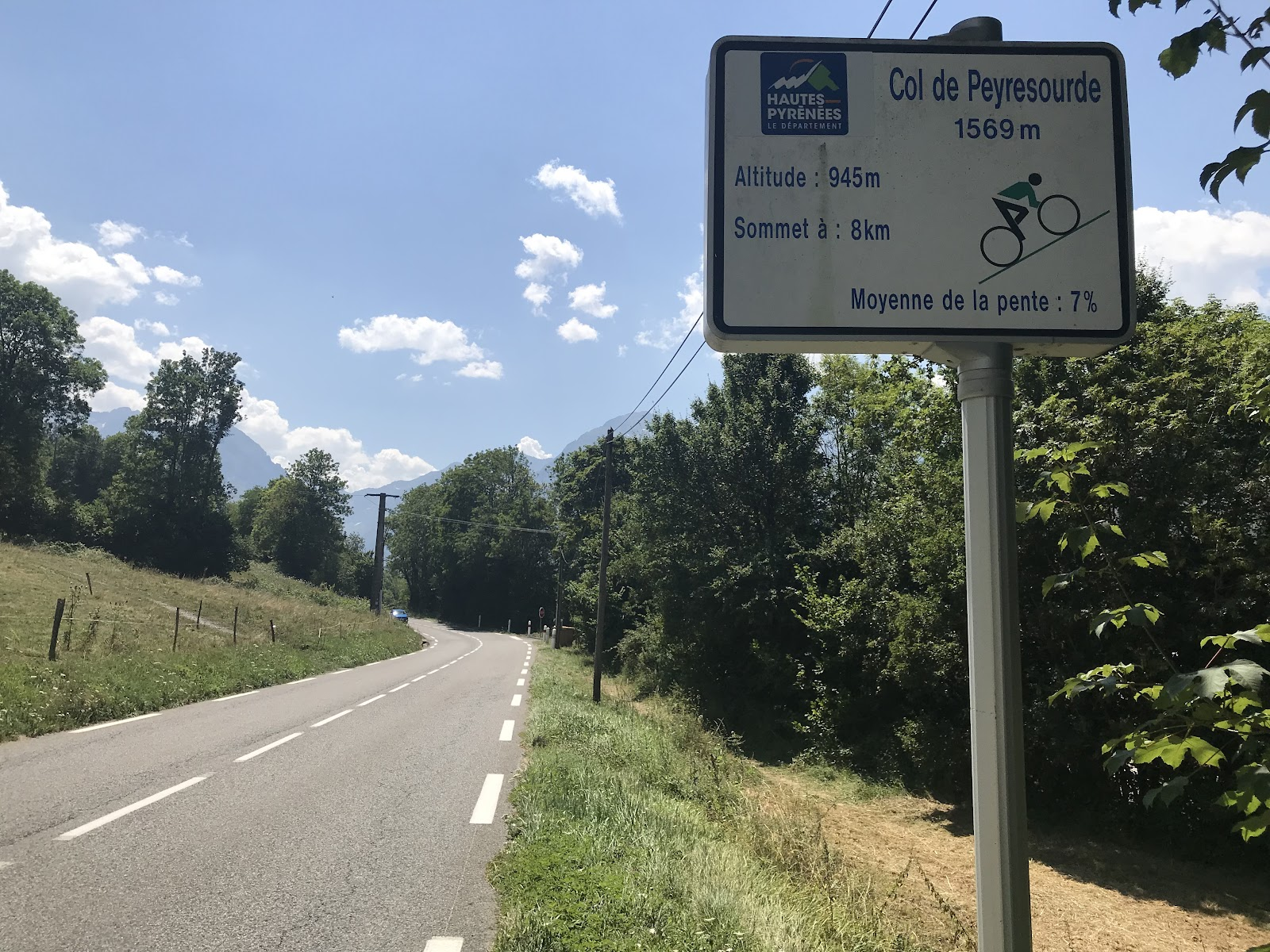 Biking Col de Peyresourde from Avajan  - col sign and roadway