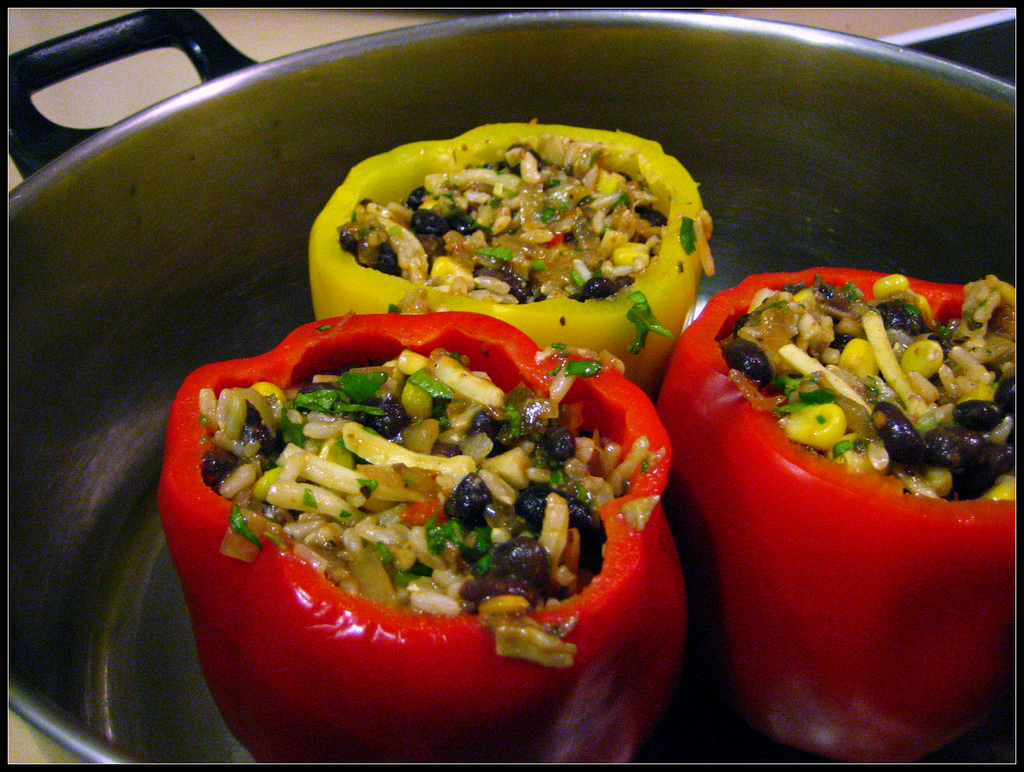 stuffed pepper in a frying pan