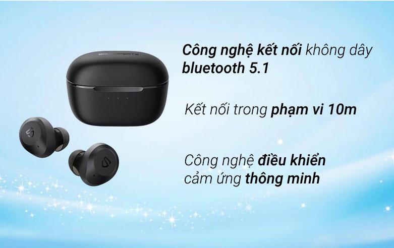 Tai nghe Bluetooth True Wireless Soundpeats T2 (Đen)| Kết nối không dây